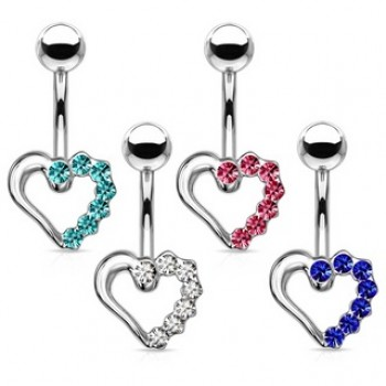 CZ Hollow Love Heart Navel Ring