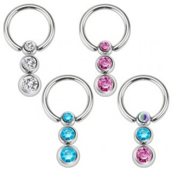 Cascading Gem Ball Captive Ring