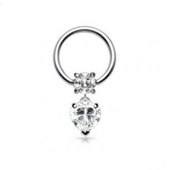 Love Heart Dangle Captive Ring
