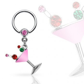 Martini Glass Dangle Captive Bead Ring