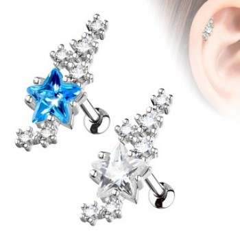 Star CZ Tragus Cartilage Bar