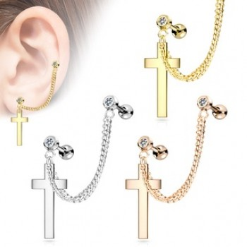 Cross Chain Linked Cartilage Tragus Ear Barbell