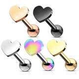 Flat Top Love Heart Tragus Cartilage Barbell