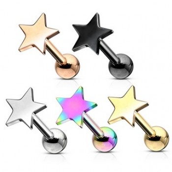 Flat Top Star Tragus Cartilage Barbell