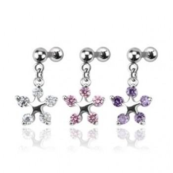 CZ Star Dangle Cartilage Tragus Bar