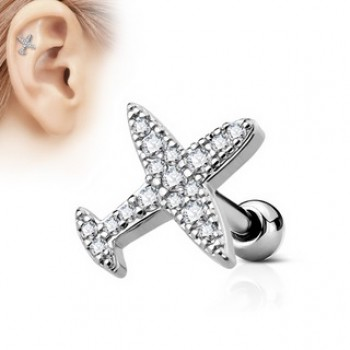 CZ Plane Tragus Cartilage Bar