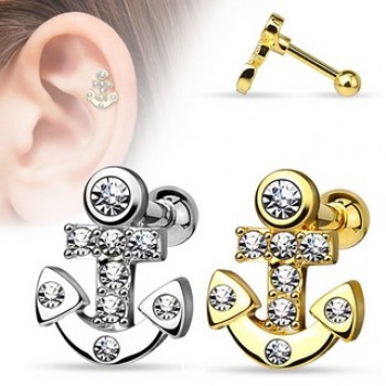 CZ Anchor Tragus Cartilage Bar