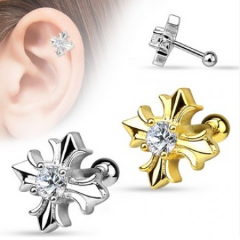 CZ Cross Tragus Cartilage Bar