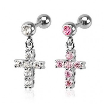 CZ Cross Dangle Tragus Bar