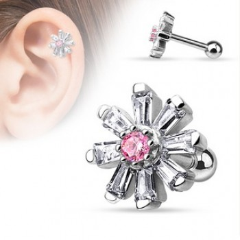 Flower Cartilage Tragus Barbell
