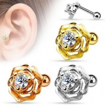 CZ Flower Cartilage Tragus Bar