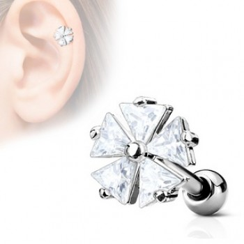 CZ Flower Tragus Cartilage Bar