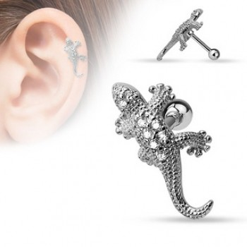 CZ Lizard Tragus Cartilage Bar
