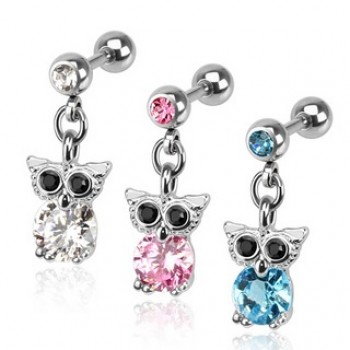 CZ Owl Dangle Tragus Cartilage Bar