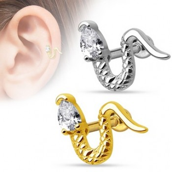 CZ Snake Tragus Cartilage Bar