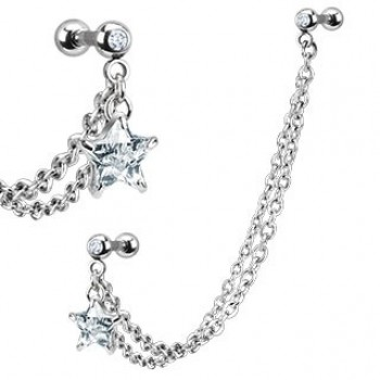 Star CZ Linked Tragus Ear