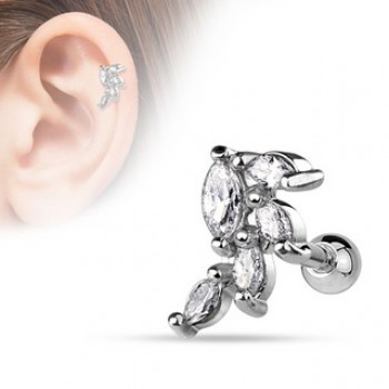 CZ Vine Tragus Cartilage Bar
