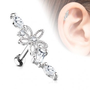 CZ Hollow Flower Vine Tragus Cartilage Bar