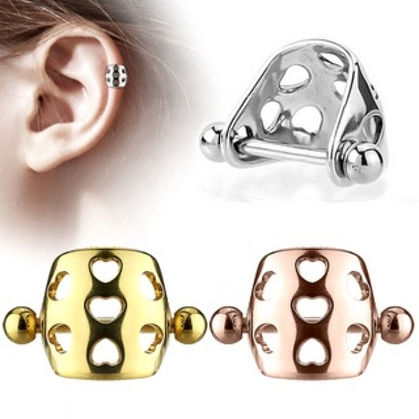 Surgical Steel Hollow Hearts Cartilage Tragus Shielded Barbell Ear Piercing