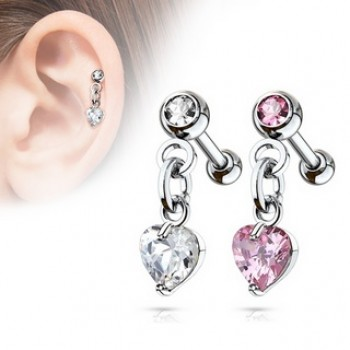 CZ Heart Tragus Dangle