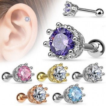 Prong CZ Tragus Cartilage Bar