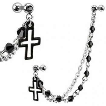 Cross Linked Tragus Bead Barbell