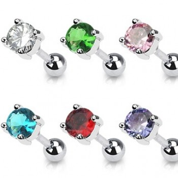 Round CZ Tragus Cartilage Bar