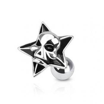 Star Skull Tragus Cartilage Barbell