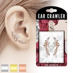 1 Pair CZ Pearl Feather Ear Crawlers