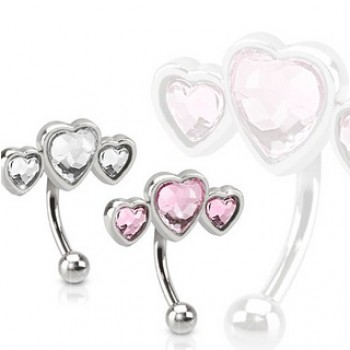CZ Heart Eyebrow Bar