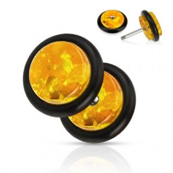 Synthetic Amber Cheater Fake Ear Plug