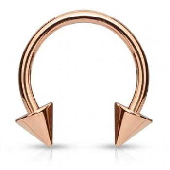 Rose Gold IP Spike Horse Shoe Ring