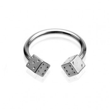 Steel Dice Horse Shoe Ring