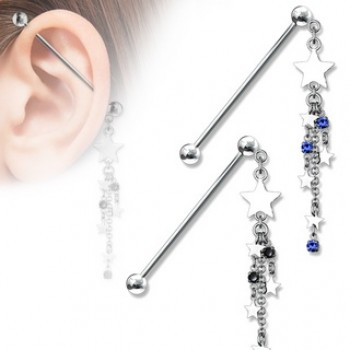 Star CZ Chain Dangle Industrial Barbell