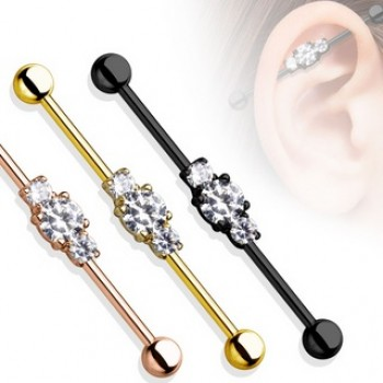 CZ Ion Plated Industrial Barbell