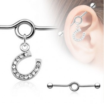 Horse Shoe Dangle Industrial Barbell