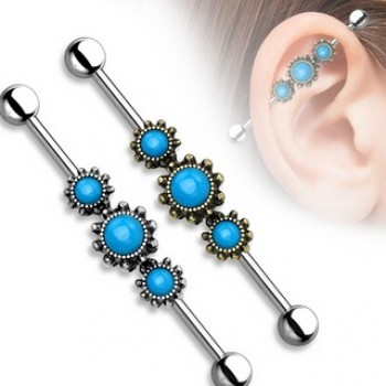 Fancy Turquoise Industrial Barbell