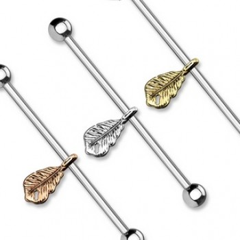 Feather Dangle Industrial Barbell
