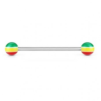 Jamacian Stripe Ball Industrial Barbell