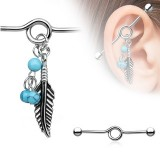 Feather Bead Dangle Industrial Barbell
