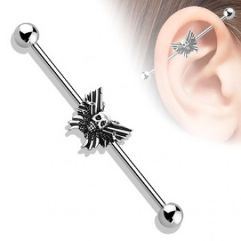 Skull Butterfly Industrial Barbell