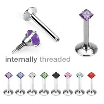 Square Internally Threaded Labret Lip Bar