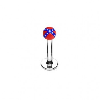 Rebel Flag Ball Labret Lip Bar Stud
