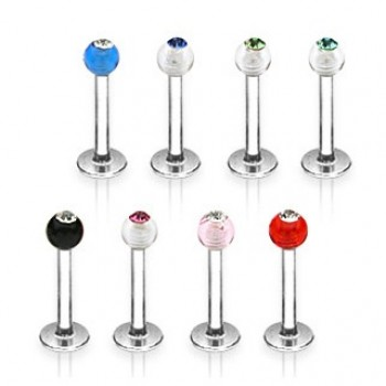 UV Gem Ball Labret Bar