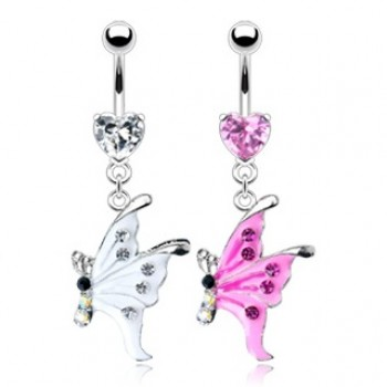 Gem Heart Butterfly Navel Dangle