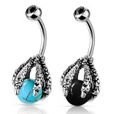Dragon Claw Holding Ball Navel Ring Belly Bar