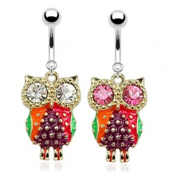 CZ Eye Owl Belly Bar Navel Dangle