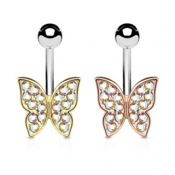 Aurora Gem Butterfly Belly Bar Navel Ring