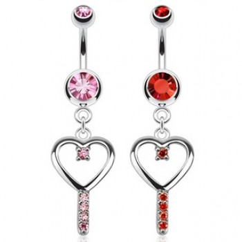 Love Heart Key Navel Ring Belly Dangle