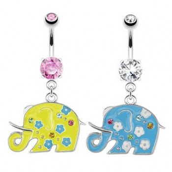 Flower Elephant Belly Bar Navel Ring Dangle
